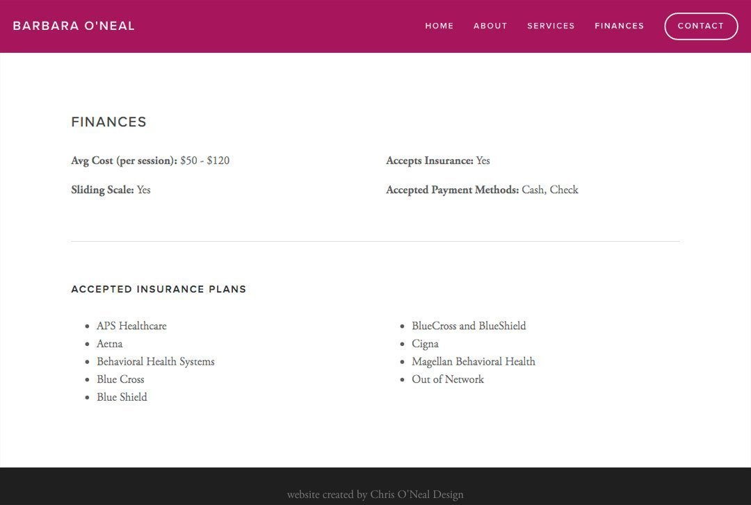 Barbara O'Neal, a therapist Towson, Maryland, website finances page