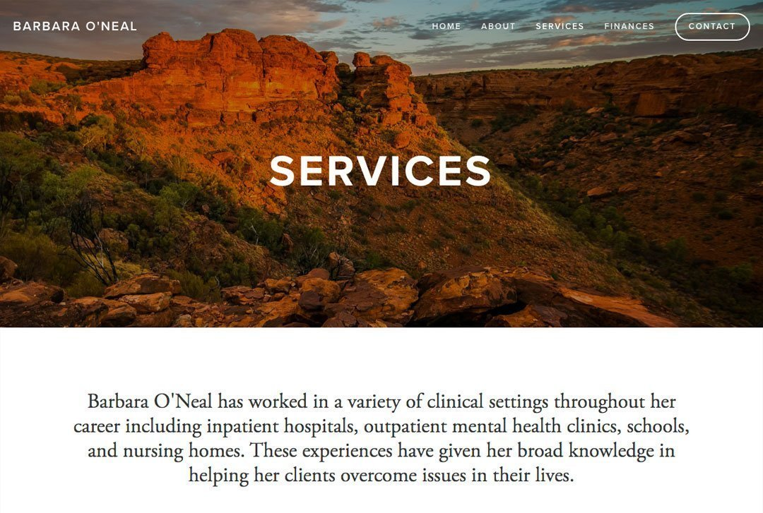 Barbara O'Neal, a therapist Towson, Maryland, website services page