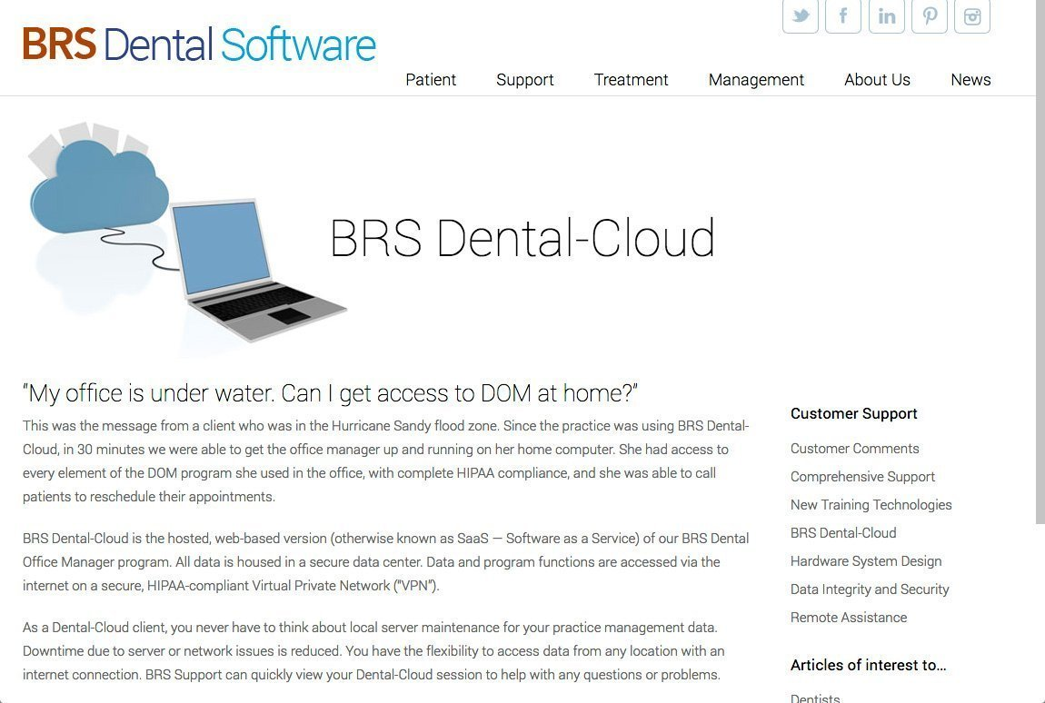 BRS Dental website cloud page