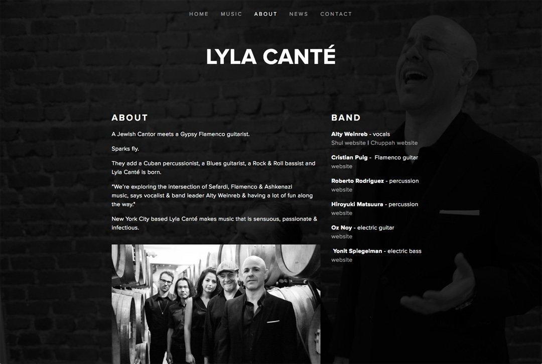 Lyla Canté website about page