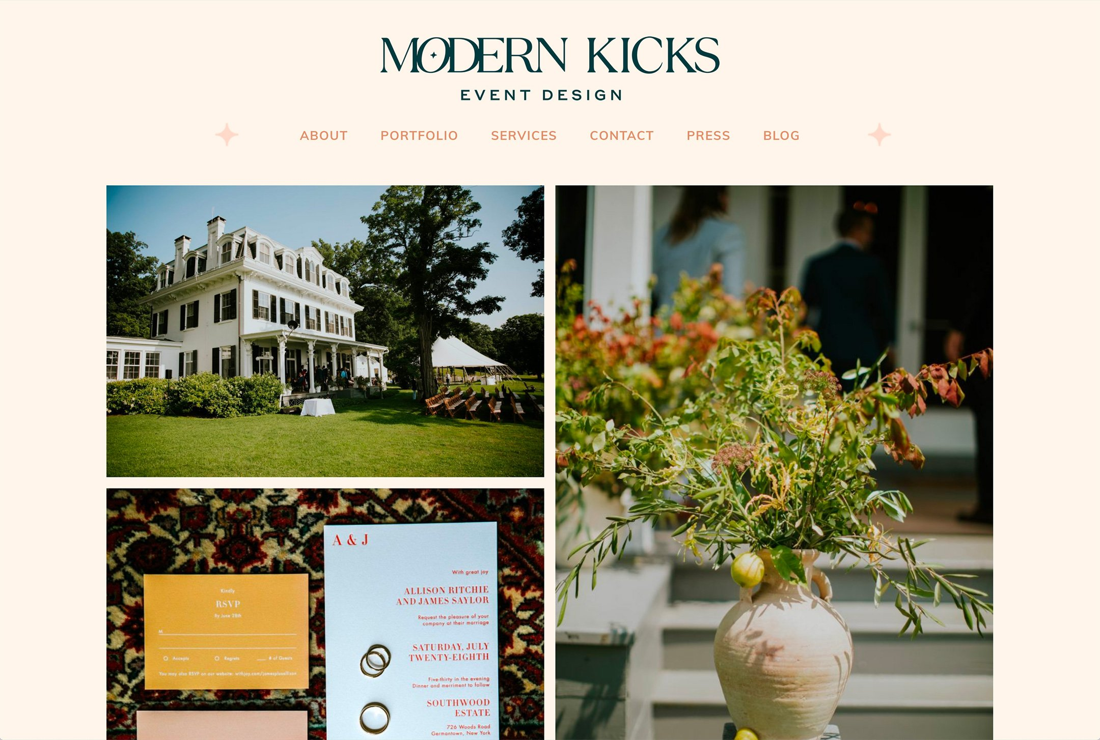 Modern Kicks, Hudson Valley wedding planner, Portfolio page