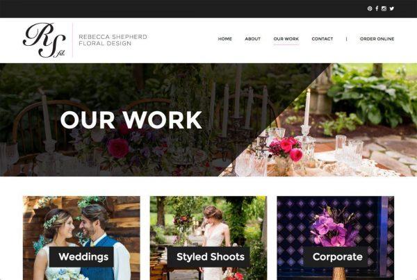 Rebecca Shepherd Floral Design website work page