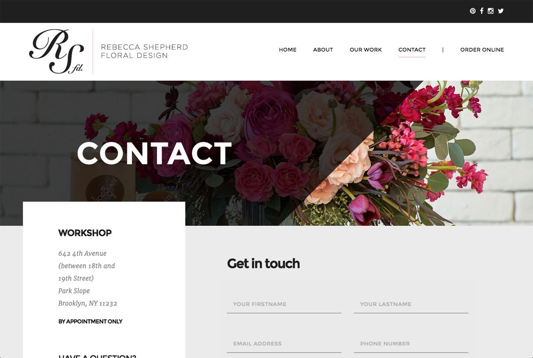 Rebecca Shepherd Floral Design website contact page