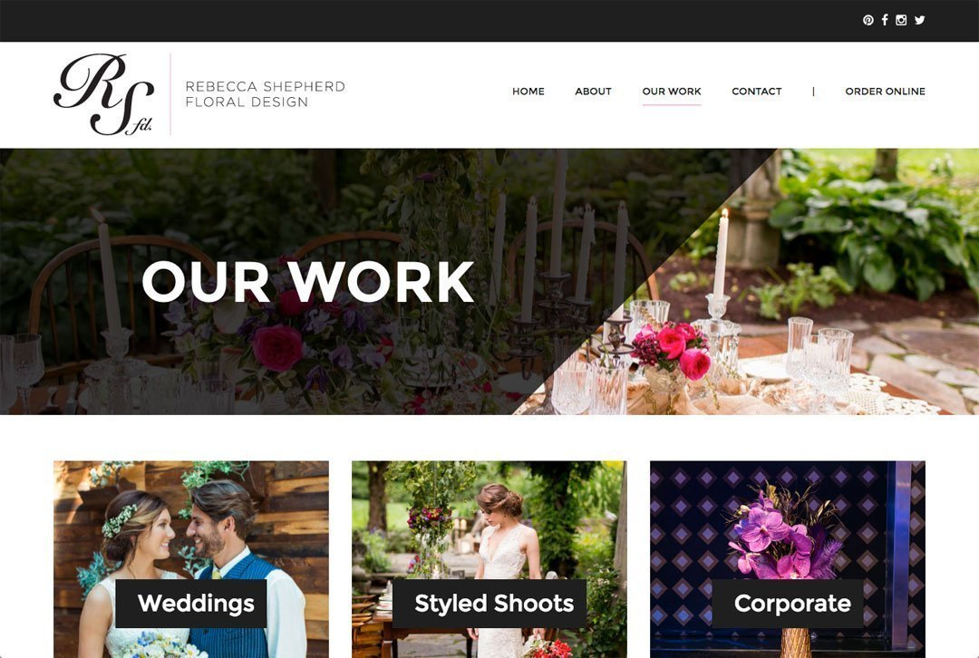 Rebecca Shepherd Floral Design website work page
