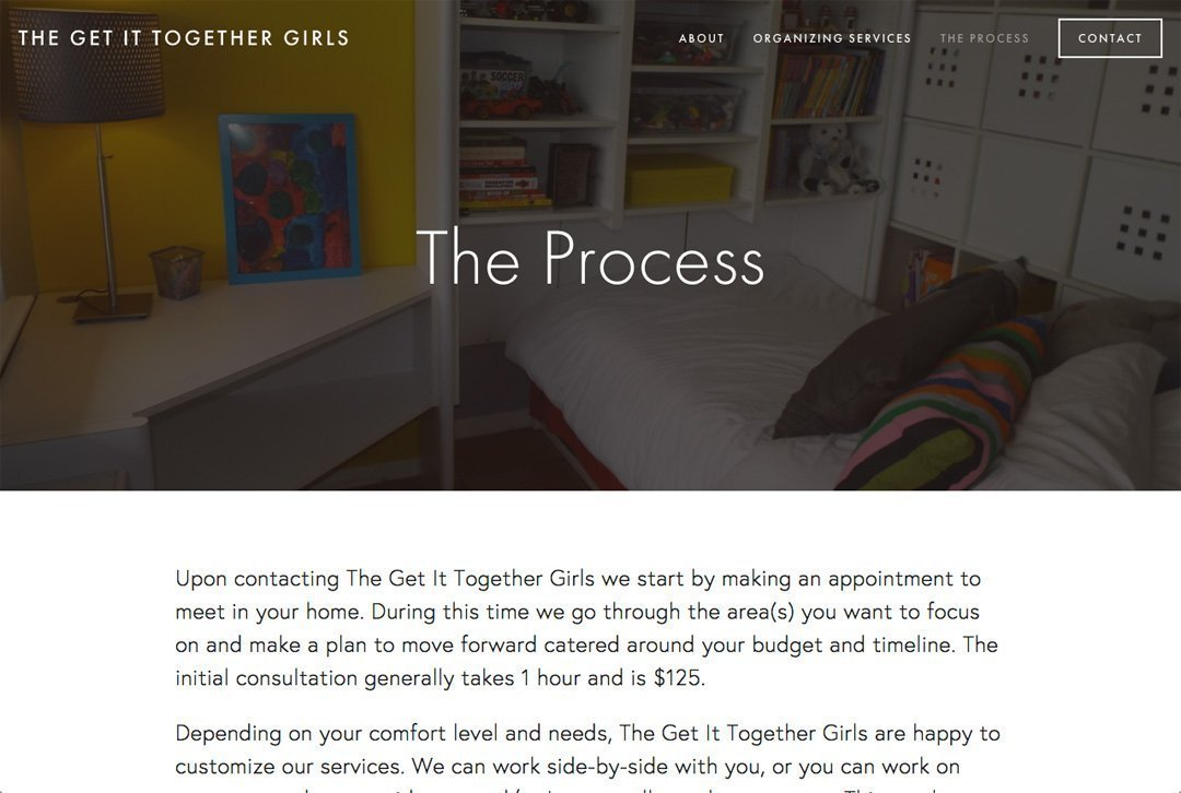 The Get It Together Girls website process page
