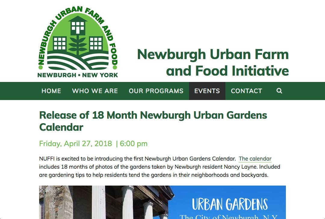 Newburgh Urban Farm and Food Initiative website by Chris O'Neal Design calendar