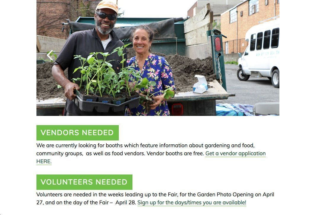 Newburgh Urban Farm and Food Initiative website by Chris O'Neal Design event