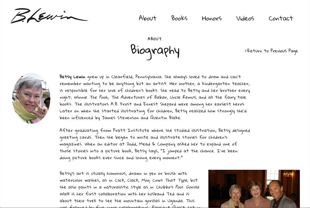 Betsy Lewin website bio page by Chris O'Neal Design