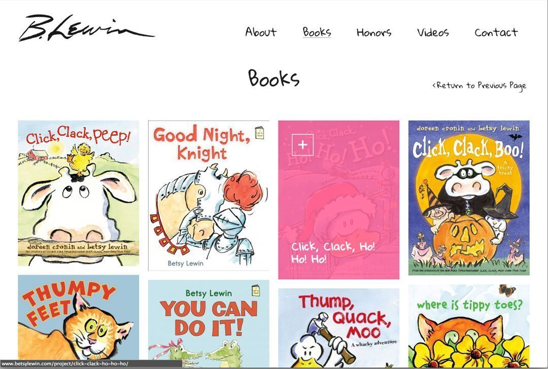 Betsy Lewin website books page by Chris O'Neal Design