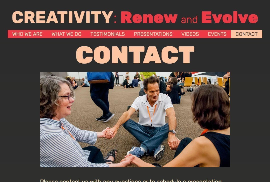 CREATIVITY: Renew and Evolve website Contact page