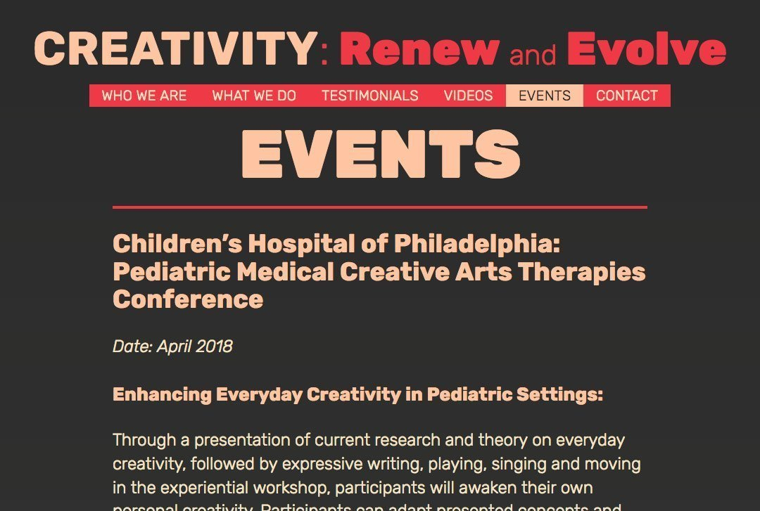 CREATIVITY: Renew and Evolve website Events page