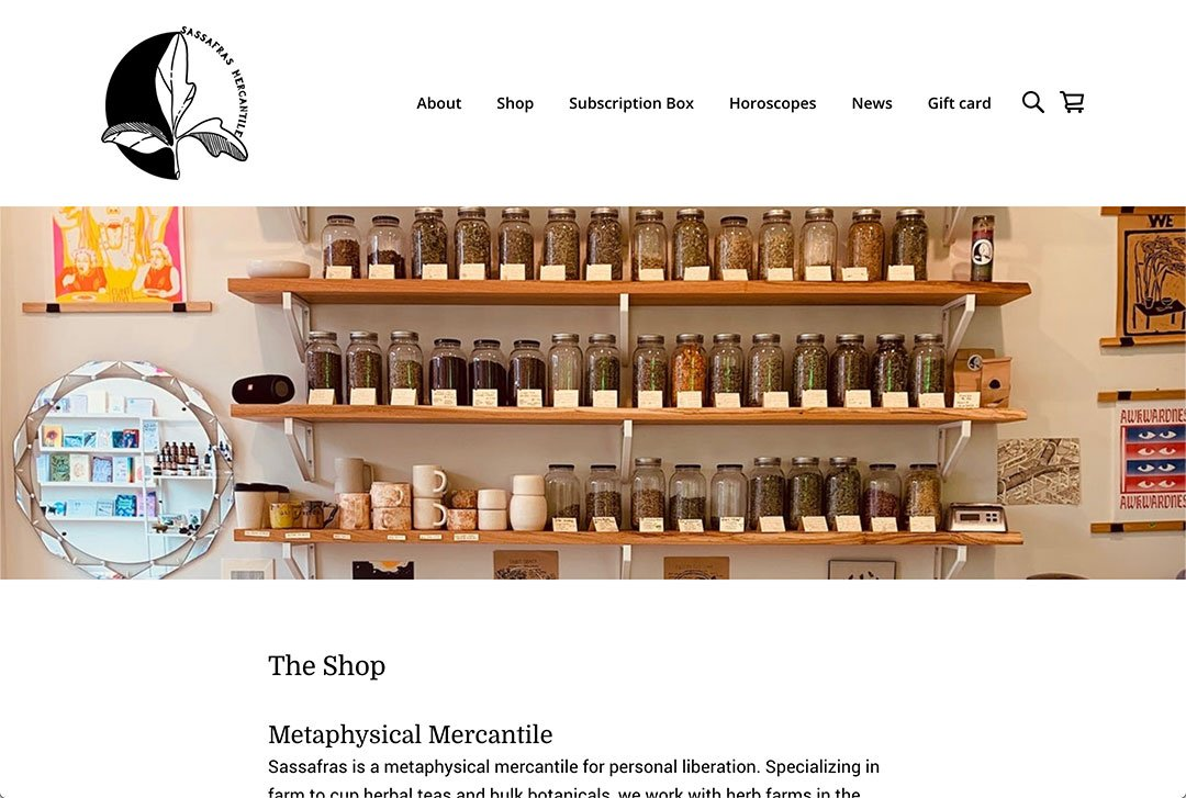 Sassafras Mercantile website about page