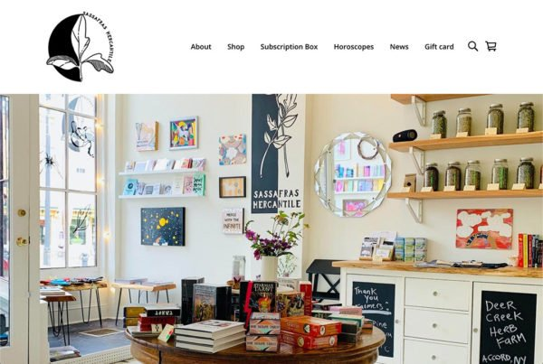 Sassafras Mercantile website home page