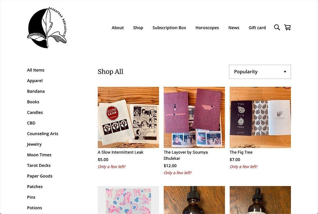 Sassafras Mercantile website shop page